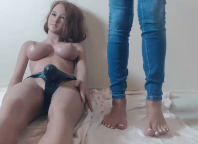 Blonde shemale from Denmark with her fuck doll