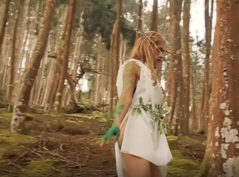 Blonde shemale Agata in the forest